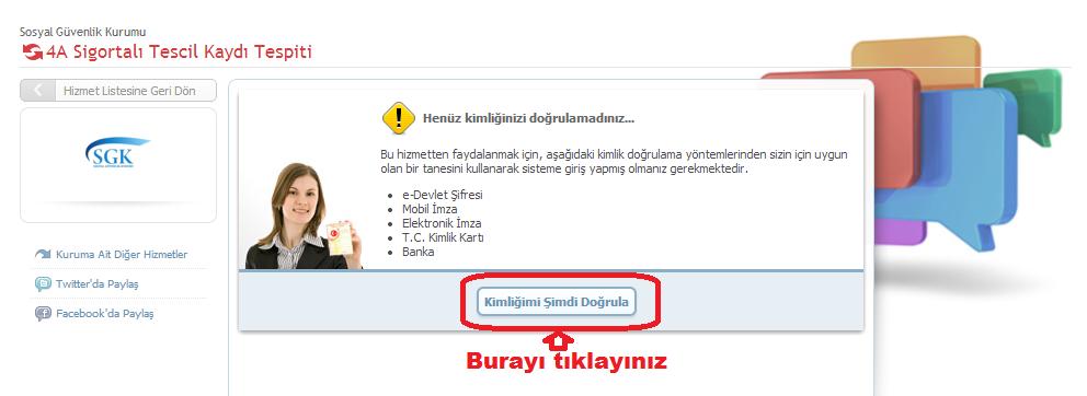 e-devlet SSK sicil no sorgulama giriş ekranı