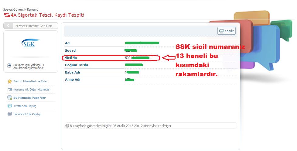 e-devlet SSK sicil no sorgulama sonuç ekranı