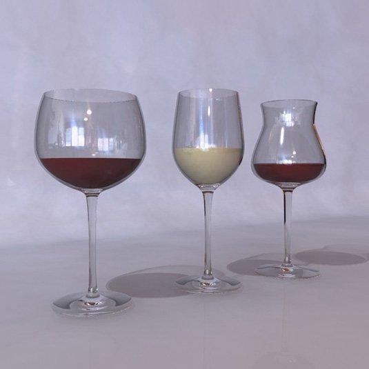 Free 3D models - wine glasses