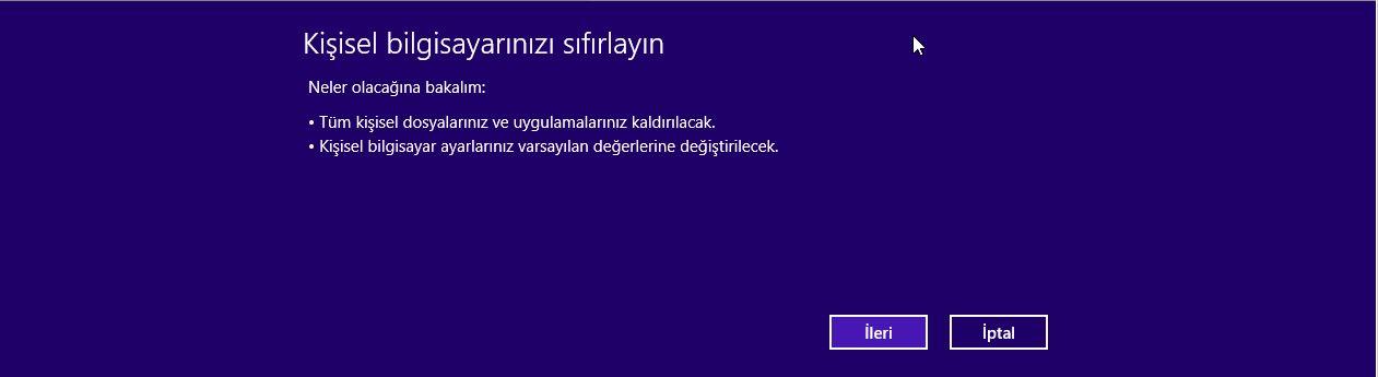 Bilgisayar Sıfırlama