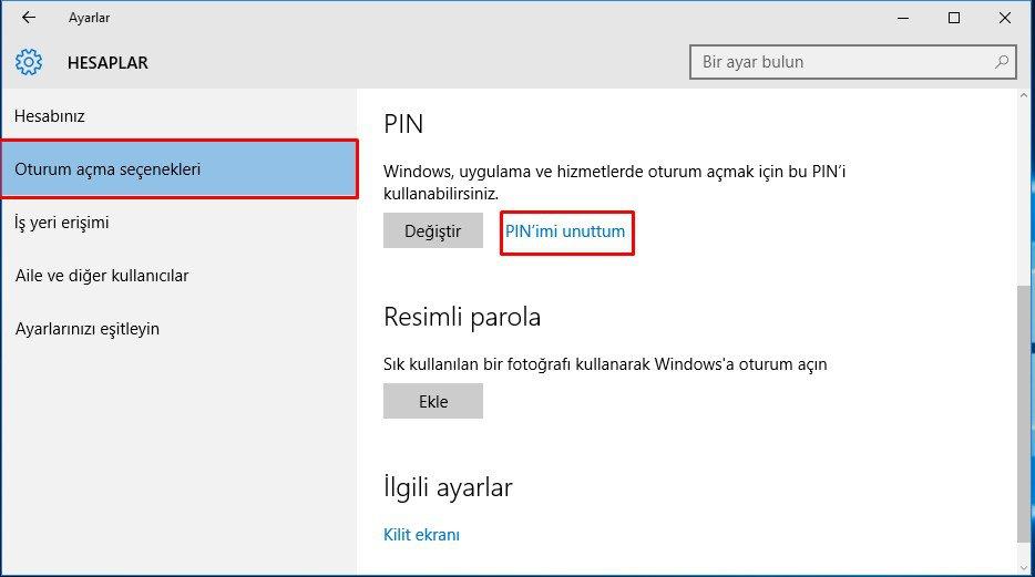 Windows 10 PIN Kaldırma (3)
