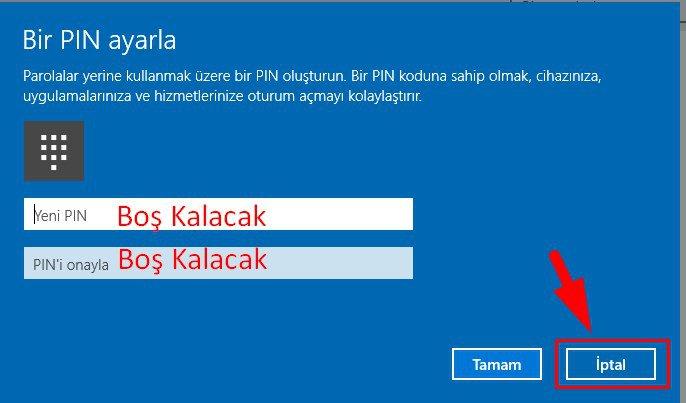 Windows 10 PIN Kaldırma (5)