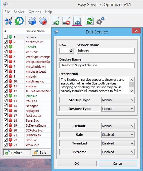 Easy services optimizer edit service menu