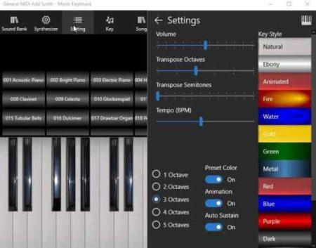 music keyboard settings