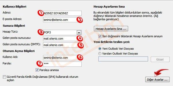 Hesap Türü seçeneği POP3 seçiniz..