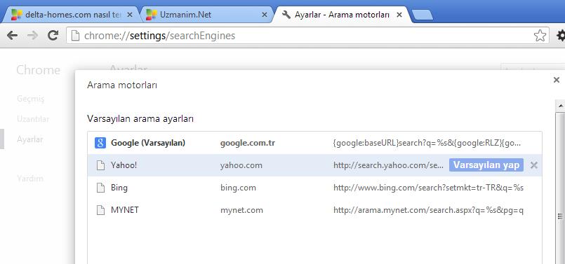 Google Chrome ana sayfa değişmiyor - chrome varsayılan arama motoru değiştirme