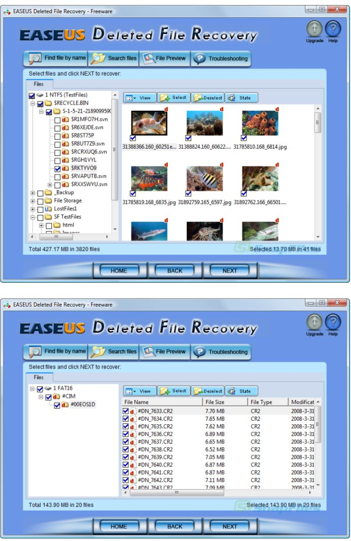 screenshot of EaseUS Deleted File Recovery