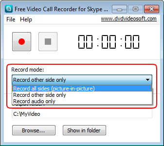 Free Video Call Recorder for Skype: select mode