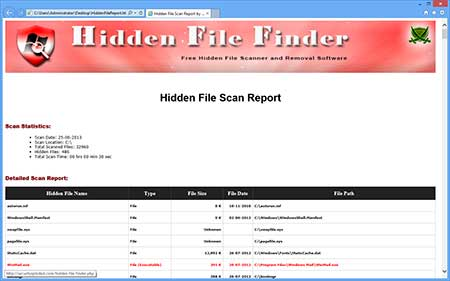 HiddenFileFinder showing the exported scan list