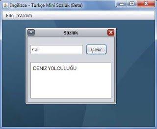 İngilizce-Türkçe Mini Sözlük Programı