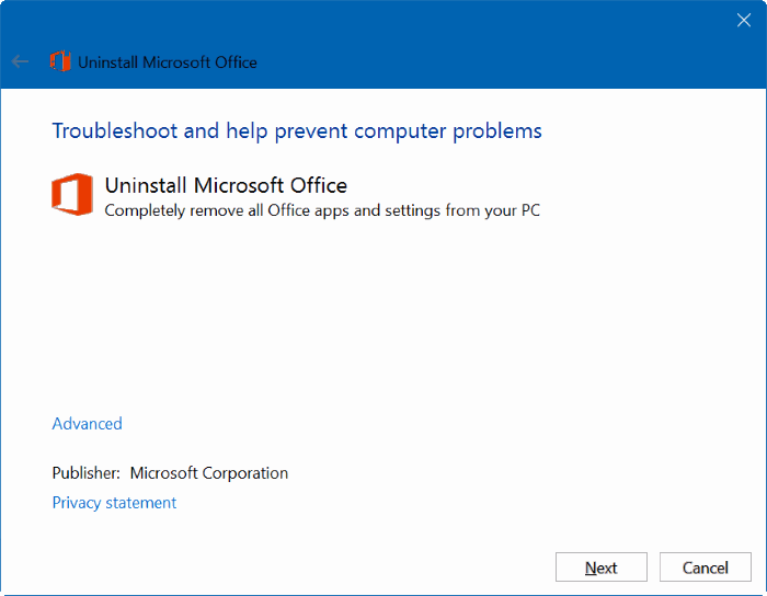 uninstall Microsoft Office 365 or office 2016 from Windows 10 pic1