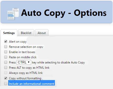 Auto copy settings
