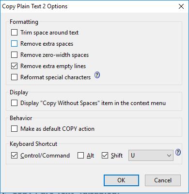 Copy as plain text 2 UI