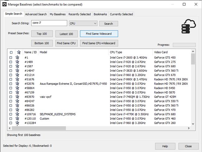 Select Baselines to be Displayed Screenshot