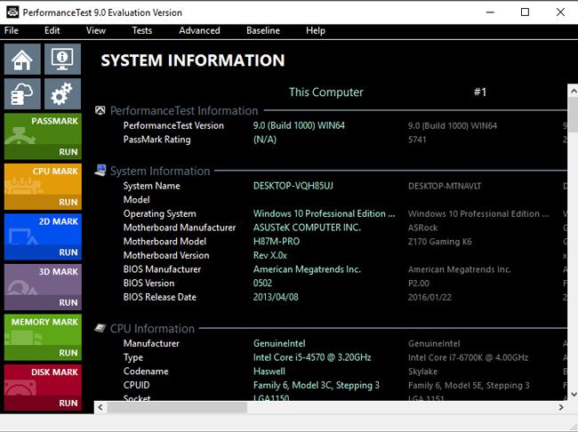 Baseline Information Window Screenshot