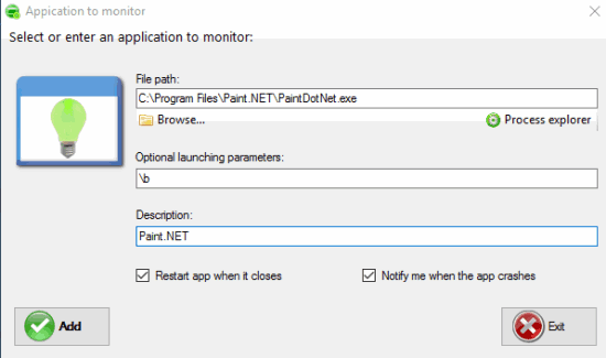 add application to monitoring list