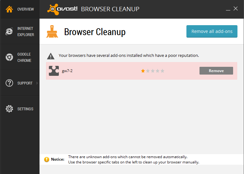 Avast! Browser Cleanup 3