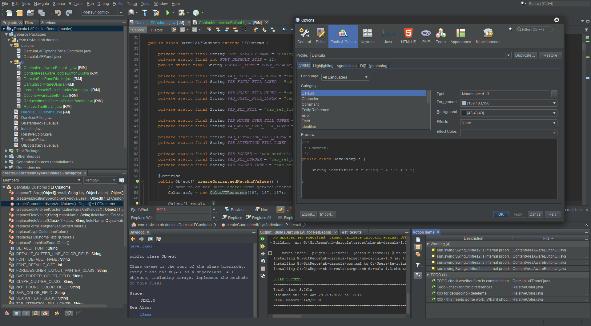 Darcula LAF for NetBeans