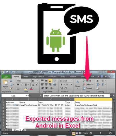 Export Android Message Log to Excel