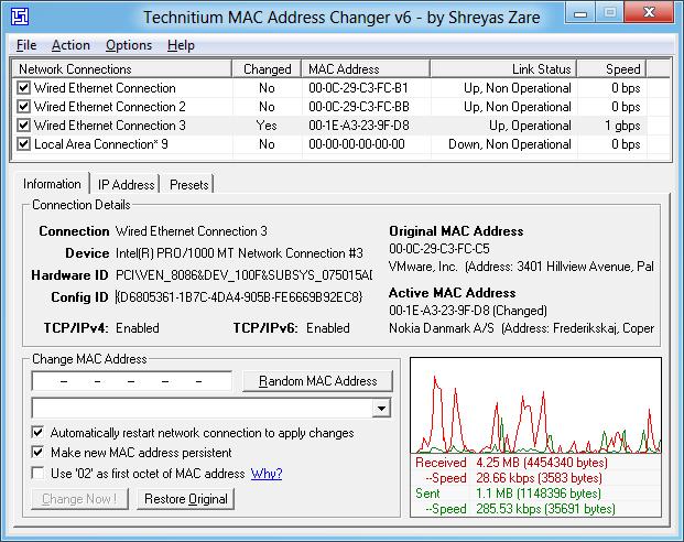 Technitium MAC Address Changer Screen Shot