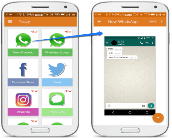 android app to create fake whatsapp chat- yazzy main interface