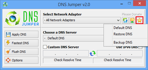 Dns Jumper backup and restore Dns servers