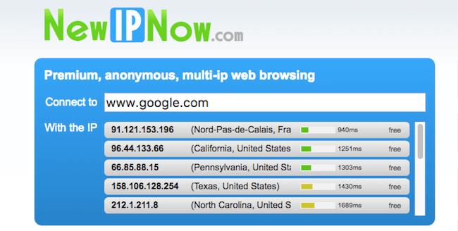newipnow proxy screenshot