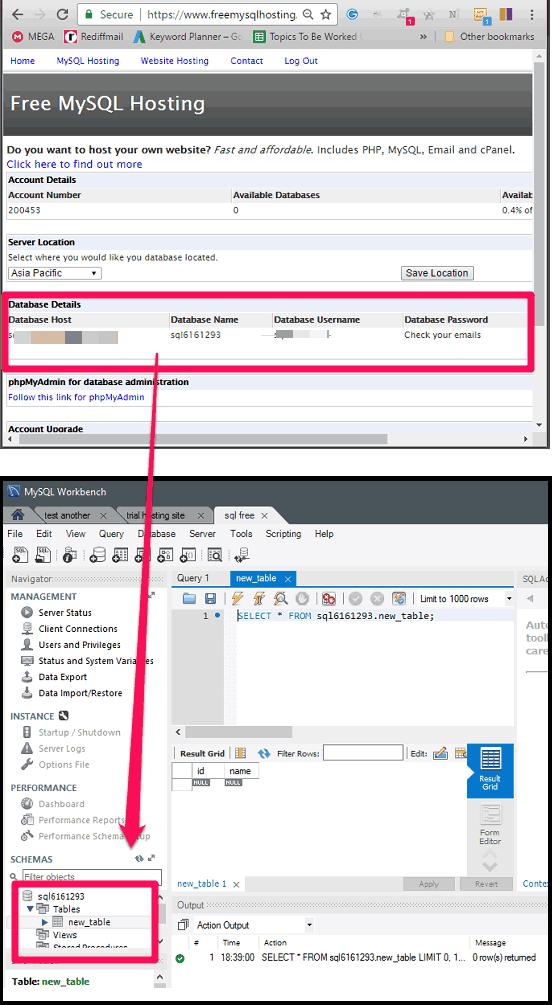 Free MySQL database in full action