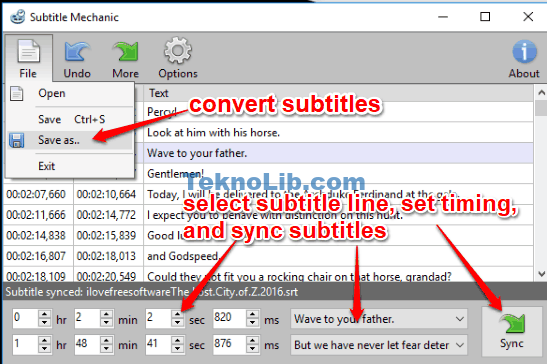 sync and convert subtitles