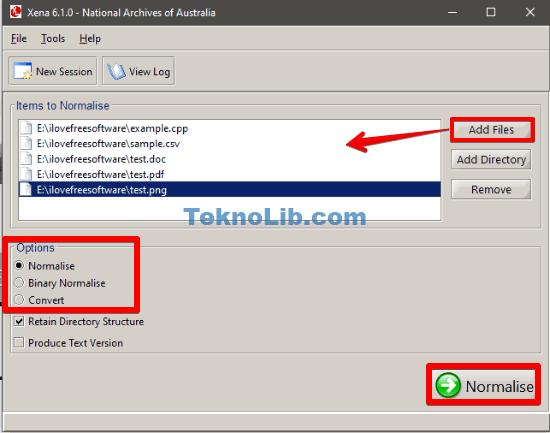 Xena add files interface