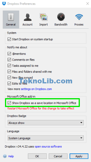 enable show dropbox as a save location in Microsoft Office