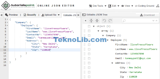 tutorialspoint online json editor