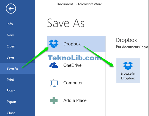use Dropbox option in save as menu
