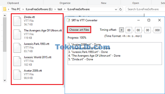 SRT to VTT converter in action
