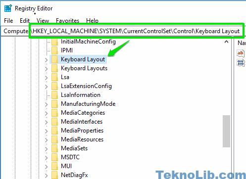 access keyboard layout registry key
