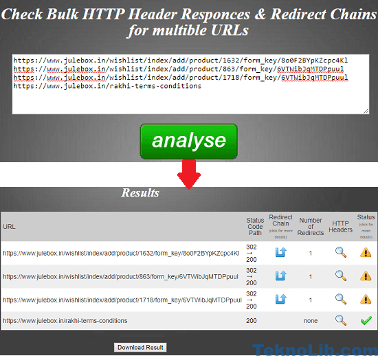 Bulk Redirect Checker Tool in action