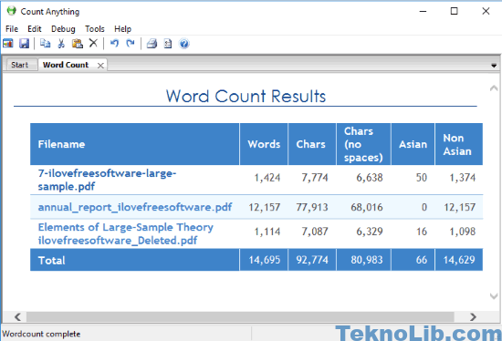 Count Anything pdf word count software interface