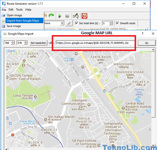 route genertor import map from Google