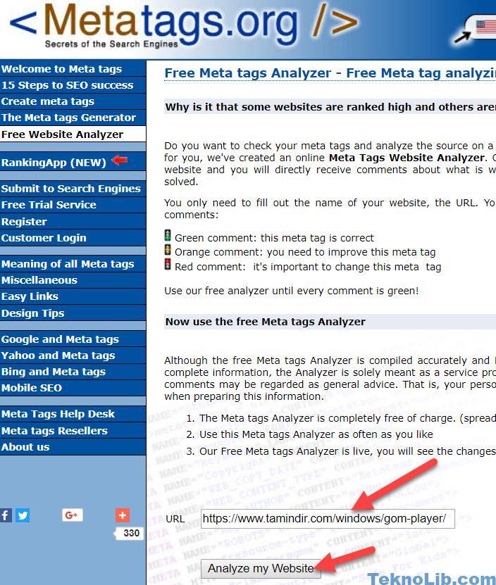 Meta Tag Analyzer : Web site meta analizi İçin en İyi Ücretsiz uygulama