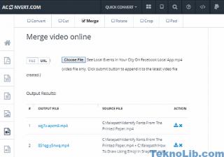 Aconvert: merge videos online