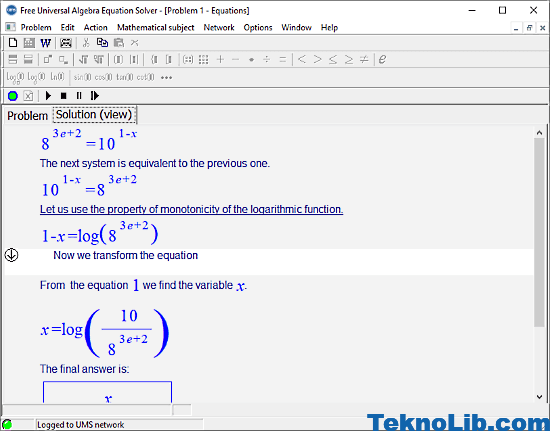 Universal Algebra Equation Solver: exponential equation calculator