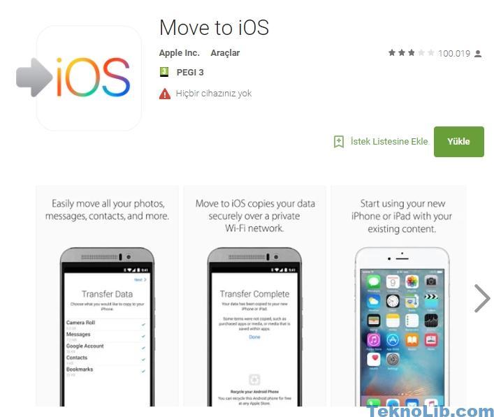 Move to iOS uygulaması ile Android' den iPhone veri taşıma