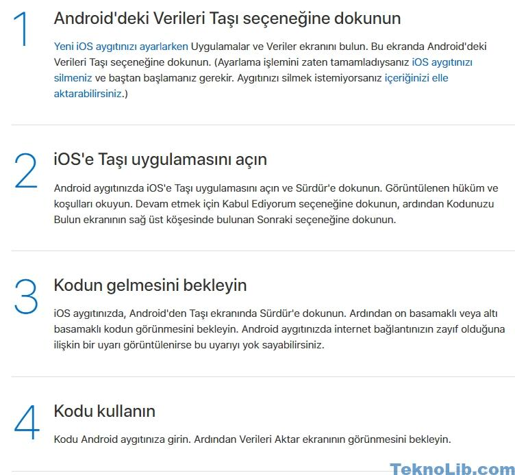 Android verileri iPhone 6 aktarma