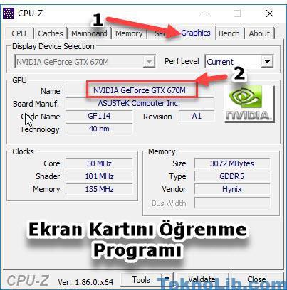 cpu-z Ekran Kartını Öğrenme Programı