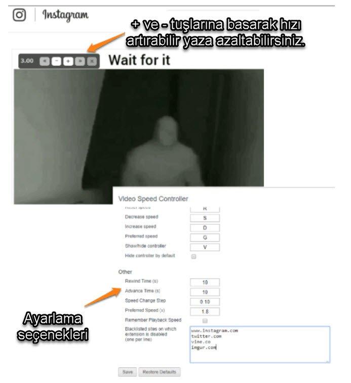 İnsagram Video Hızlandırma ve Yavaşlatma programı chrome eklentisi