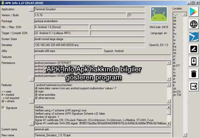 APK-Info Apk hakkında bilgiler gösteren program