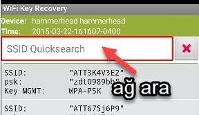 Android WiFi Şifresi nerede yazıyor