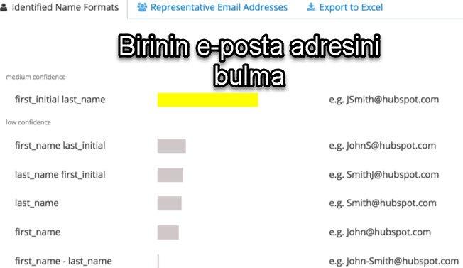 Birinin e-posta adresini bulma
