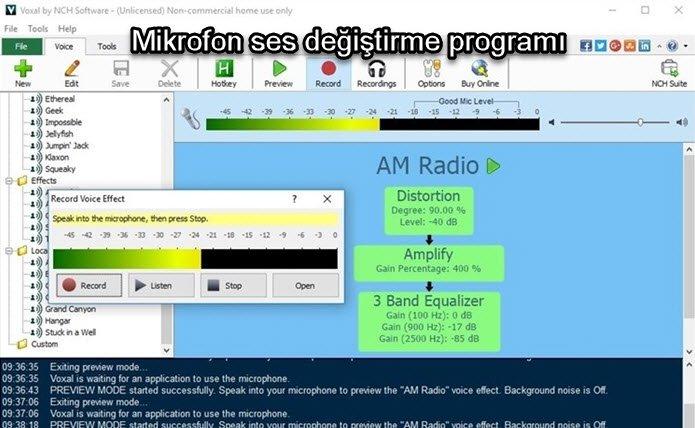 Mikrofon ses değiştirme programı