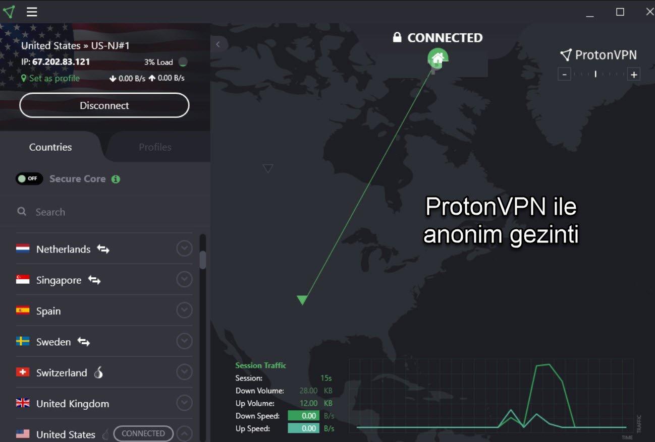 ProtonVPN ile anonim gezinti